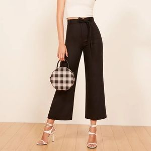 Reformation Black Linen Saylor Pants 6 G4